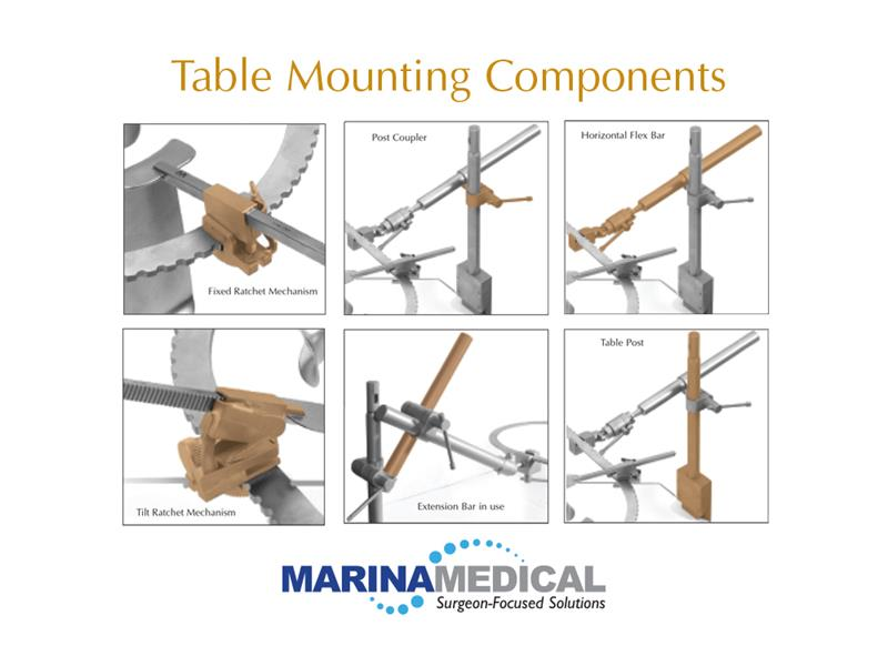 Marina Medical Multiple Retractor Table Mounting Components, Multi-Trac