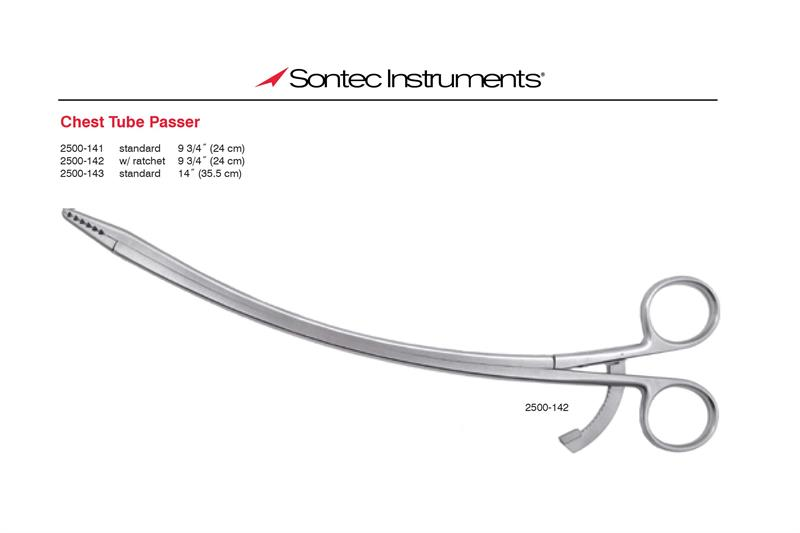 Sontec Instruments 2500-142 Cardiovascular Chest Tube Passer, With Ratchet, 24cm